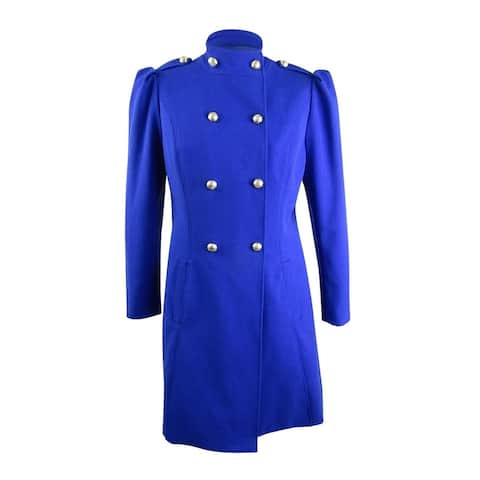 INC International Concepts Womens Double-Breasted Coat (XL, Bright Blue)