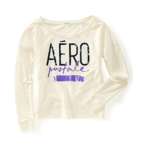 Aeropostale Womens Aero Wide Crew Sweatshirt, off-white, X-Large