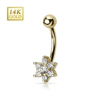 """14 Karat Solid Yellow Gold Clear CZ Flower Navel Belly Button Ring - 14GA 3/8"""" Long"""