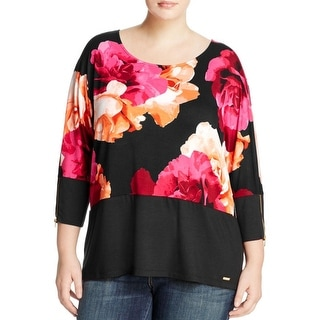 Calvin Klein Womens Plus Casual Top Floral Print Scoop Neck - 2x