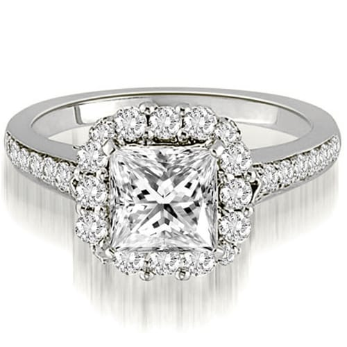 1.42 cttw. 14K White Gold Halo Princess And Round Cut Diamond Engagement Ring