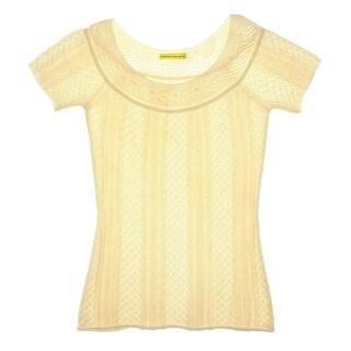Catherine Malandrino Womens Crochet Raglan Sleeves Casual Top - S