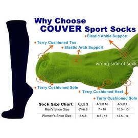 Navy Couver Knee High Unisex Sports Athletic Baseball Softball Socks(3 Pairs)