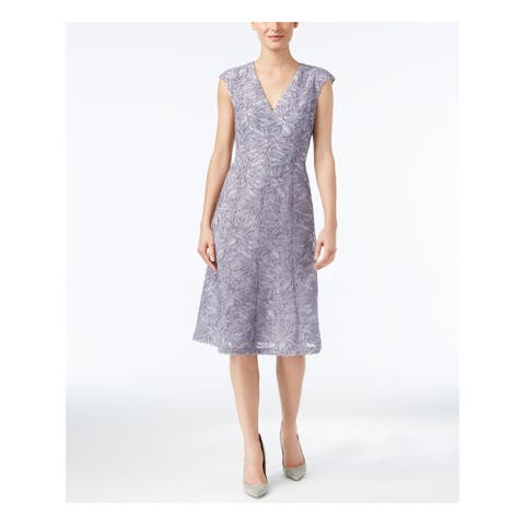 ANNE KLEIN Gray Cap Sleeve Above The Knee Fit + Flare Dress Size 10