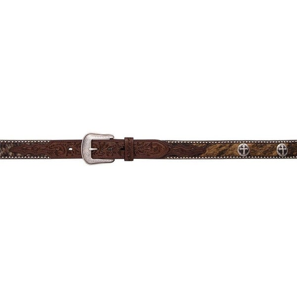 3D Belt Mens Western Leather Cross Conchos Military Brown