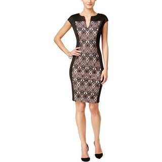 Connected Apparel Womens Casual Dress Lace-Panel Sheath