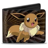 Eevee Jumping + Running Poses Rays Pok Balls Browns Bi Fold Wallet - One Size Fits most