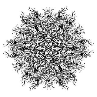 Peacock Feather Mandala - Coloring Canvas - Meditation - 16x16 Canvas B&W