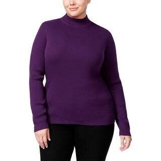 Karen Scott Womens Plus Pullover Sweater Mock Turtleneck Knit
