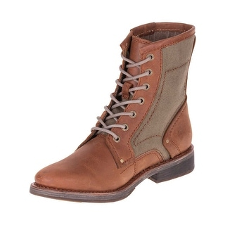 Caterpillar Mens Abe Canvas Boots in Brown/Olive