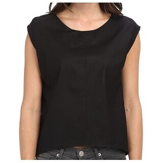Townsen NEW Black Women's Size Small S Leather High-Low Blouse