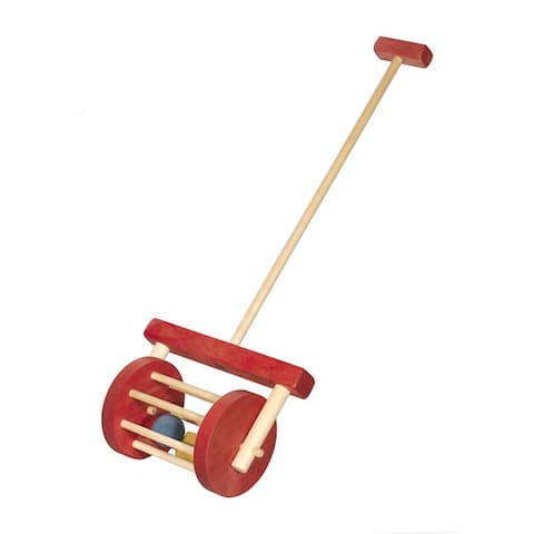 Red and Maple Block Roller Toy - Red/Maple