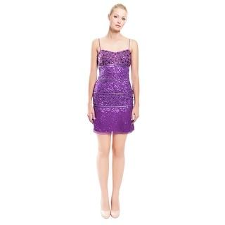 Aidan Mattox Rhinestone Sequin Fitted Slip Evening Dress - 2