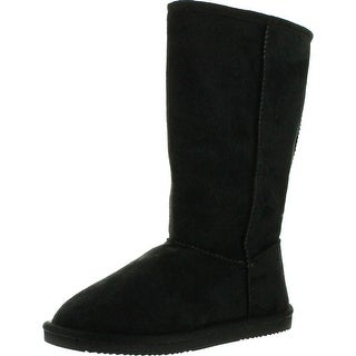 Reneeze Womens Rose-1 Mid Calf Faux Suede Boots - Black