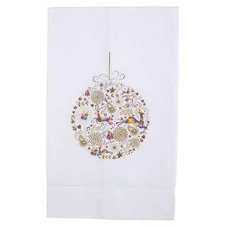 Season of Joy Printed Linen Tea Towel, Fancy Ornament