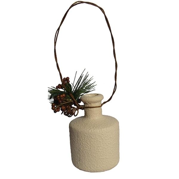 """4"""" Modern Lodge Terracotta Round Bottle Christmas Ornament - WHITE"""