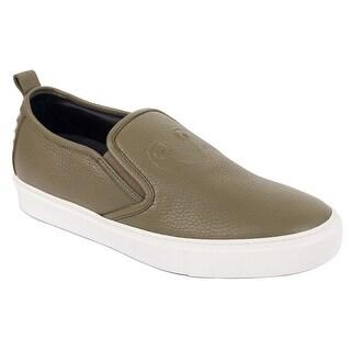 Roberto Cavalli Olive Leather Slip On Sneakers
