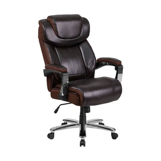 Offex HERCULES Series Big and Tall Brown Leather Executive Swivel Office Chair with Height Adjustable Headrest