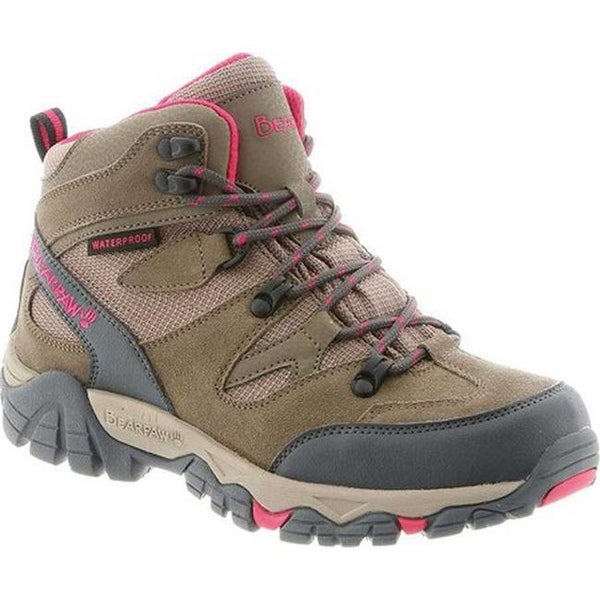 Bearpaw Women's Corsica Solids Waterproof Hiking Boot Taupe Suede/Nylon