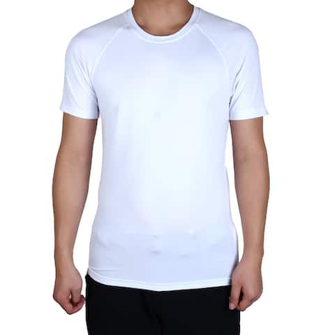 Men Round Neck Short Sleeve Tee Clothes Basketball Soccer Sports T-shirt White S
