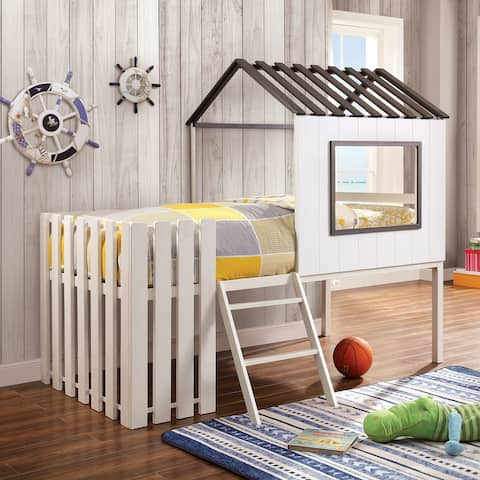 Furniture of America Woud Transitional White Twin Wood House Bed