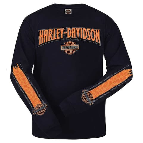 Harley-Davidson Men's Willie G Skull Stripe Long Sleeve Shirt, Dark Navy R001870