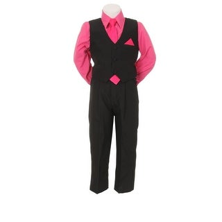 Little Boys Fuchsia Black Pants Vest Tie Shirt Special Occasion Set 1-7
