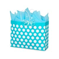 """Pack Of 25, Vogue Turquoise Polka Dots Bags 16 X 6 X 12.5"""" For Gift Packaging"""