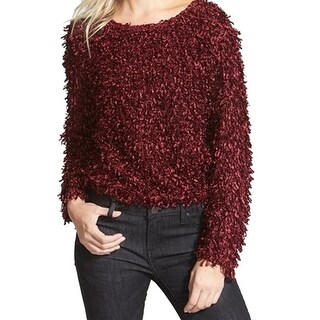 Leith NEW Red Fringe Tunic Women's Size Large L Scoop Neck Sweater