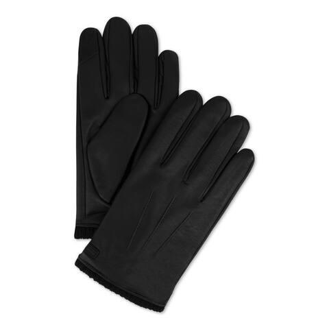 Calvin Klein Mens Winter Gloves Faux Leather Knit Cuff - Black
