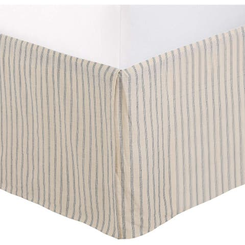 """Ivory Cream Off White Taupe Cotton Striped Tailored Bed Skirt Dust Ruffle w/ 16"""" Drop"""