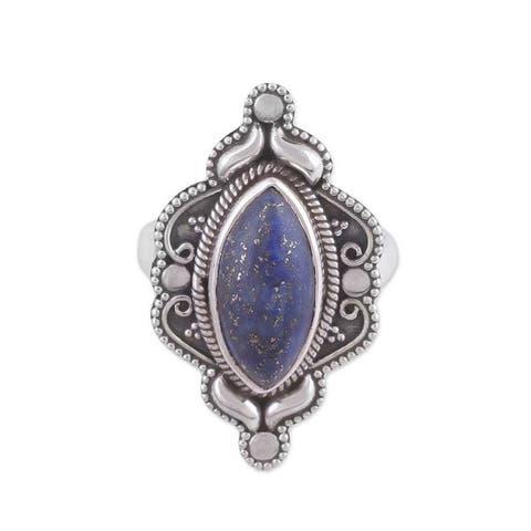 NOVICA Royal Eye, Lapis lazuli cocktail ring
