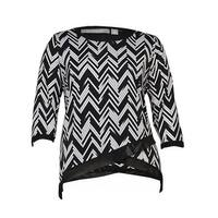 NY Collection Women's Asymmetrical Chevron Jersey Top - Black/White