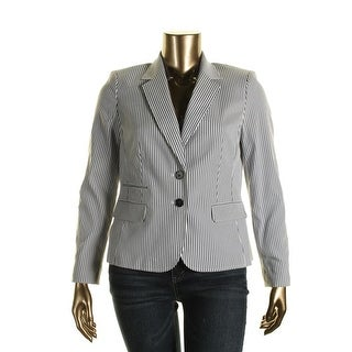 Nine West Womens Striped Long Sleeves Two-Button Blazer