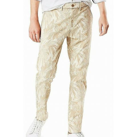 Dockers Mens Pants Classic Light Gold Size 38 Leaf Print Cropped Stretch