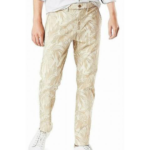 Dockers Mens Pants Light Gold Size 38 Leaf Print Cropped Stretch