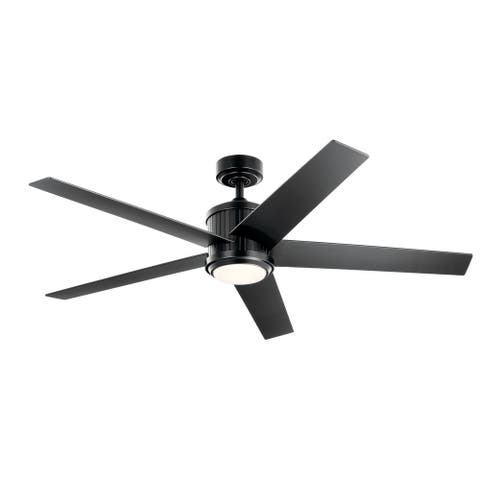 Kichler Brahm 56 inch LED Ceiling Fan Satin Black with Satin Black and Silver Blades