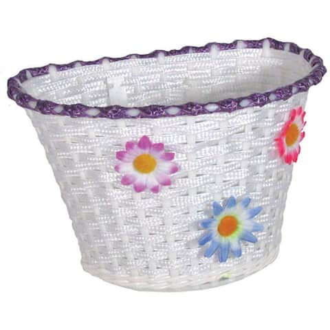Action plastic deluxe small white w/flowers basket