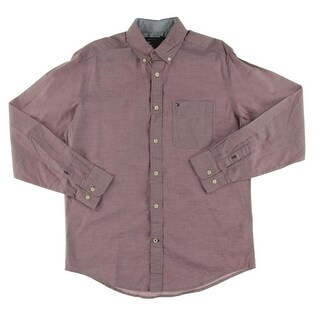 Tommy Hilfiger Mens Button-Down Shirt Cotton Long Sleeves