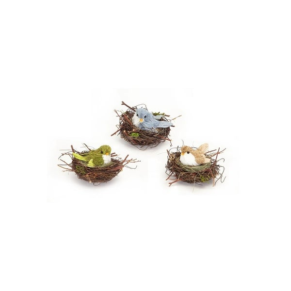 """Club Pack of 12 Sisal Bird In Nest Christmas Table Top Decorations 6"""""""