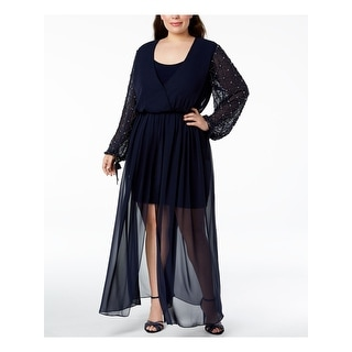 Link to BETSY & ADAM Navy Long Sleeve Full Length Drop Waist Dress  Size 20W Similar Items in Petites