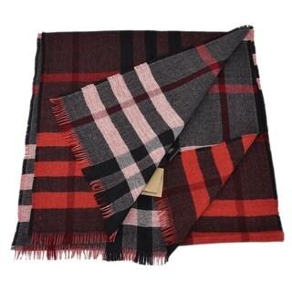 "Burberry Unisex Red Multi Wool Reversible Nova Check Scarf Muffler - 66"" x 15"""