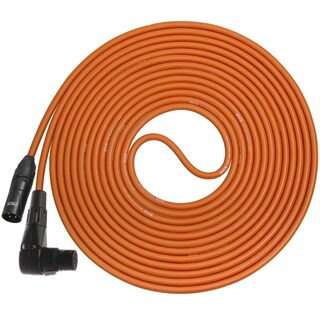 LyxPro - 25 Ft - Black - XLR Male to Right Angle Female Microphone Cable for professional Microphone & Devices (Option: Orange)