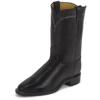 Justin Western Boots Mens Cowboy Round Royal Cowhide Black 3233