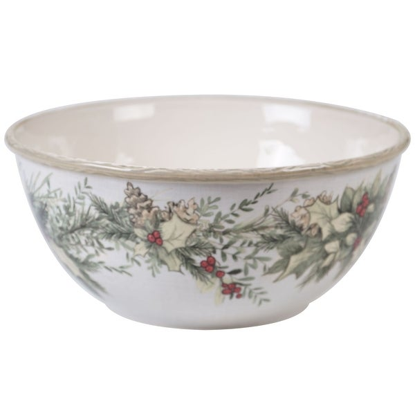 """White and Green Contemporary Thanksgiving Deep Bowl Set 11"""". Opens flyout."""
