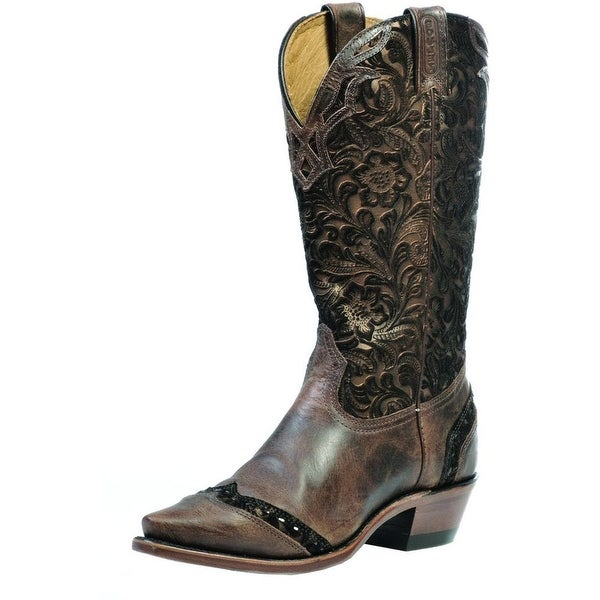 Boulet Western Boots Women Cowboy Leather Selvaggio Wood Tabacco