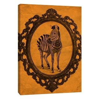"PTM Images 9-105895  PTM Canvas Collection 10"" x 8"" - ""Framed Zebra in Tangerine"" Giclee Zebras Art Print on Canvas"
