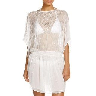 Parker Beach Womens Sheer Beaded Dress Swim Cover-Up