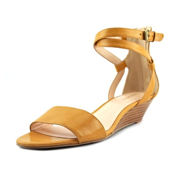 Nine West 7 Villian Women Open Toe Leather Yellow Wedge Heel