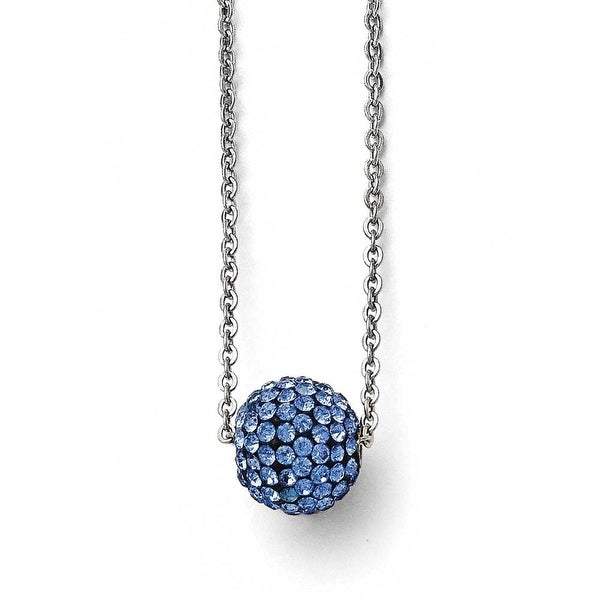 Chisel Stainless Steel Polished Blue Enamel with Crystals with 2in ext. Necklace - 16 in